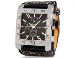 Relógio análogo de moda para homens com alça de couro de faux (preto)